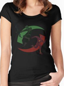 Green and Red Women's Fitted Scoop T-Shirt
