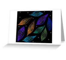 Neon Glowing Leaves Greeting Card
