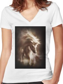 Mistic Horse Women's Fitted V-Neck T-Shirt