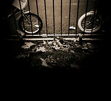 Childrens bicycles against park railings  black and white sepia tone 35mm silver gelatin analog photo by edwardolive
