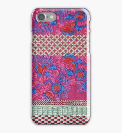 Pink hand embroidered fabric. iPhone Case/Skin