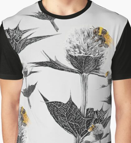 Yellow bumblebee on a black and white thistle Graphic T-Shirt