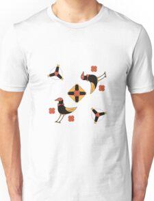funny CARTOON fairytale birds on happy holiday.  Unisex T-Shirt