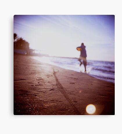 Boy running on beach square Lubitel lomo lomographic lomography medium format  color film analogue photo Canvas Print