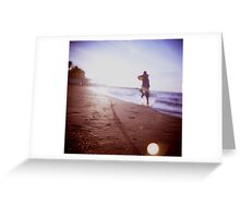 Boy running on beach square Lubitel lomo lomographic lomography medium format  color film analogue photo Greeting Card