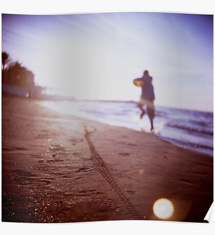 Boy running on beach square Lubitel lomo lomographic lomography medium format  color film analogue photo Poster