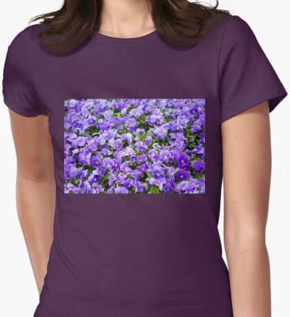 pansy flowers blooming  Womens Fitted T-Shirt