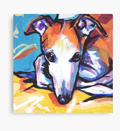 Whippet Dog Bright colorful pop dog art Canvas Print