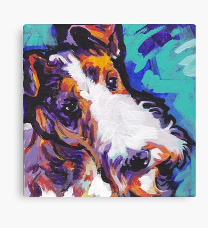 Wire Fox Terrier Bright colorful pop dog art Canvas Print