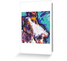 Wire Fox Terrier Bright colorful pop dog art Greeting Card