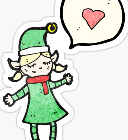christmas elf girl cartoon Sticker