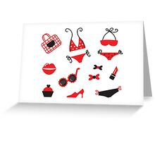 New in Design Shop : hand-drawn ICONS / red black Greeting Card