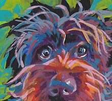 WireHaired Pointing Griffon Bright colorful pop dog art by bentnotbroken11
