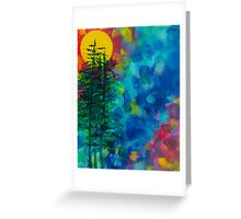 High Sierra Abstract Painting with Sun and Pines Greeting Card