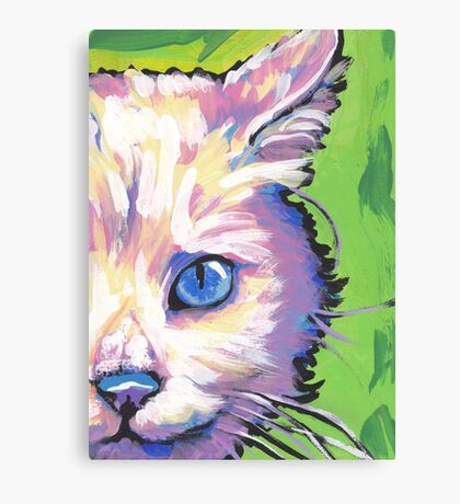 White Cat Bright colorful pop kitty art Canvas Print