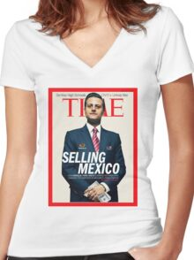 TIME Women's Fitted V-Neck T-Shirt