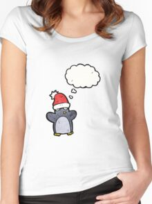 cartoon funny christmas penguin Women's Fitted Scoop T-Shirt