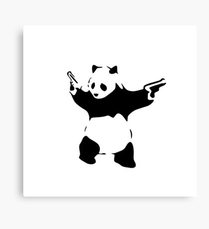 panda bear with guns Canvas Print