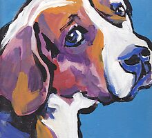 Beagle Dog Bright colorful pop dog art by bentnotbroken11