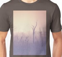 The morning mist on forest edge. Spring morning. Naked tree in the haze. Soft pastel colors of violet and beige Unisex T-Shirt