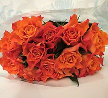 Bouquet of Orange Roses by MidnightMelody