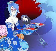 Kabuki Master Aqua Print by Viktorie