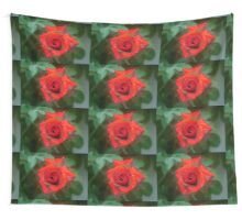 Digitally enhanced orange rose flower with green foliage background  Wall Tapestry