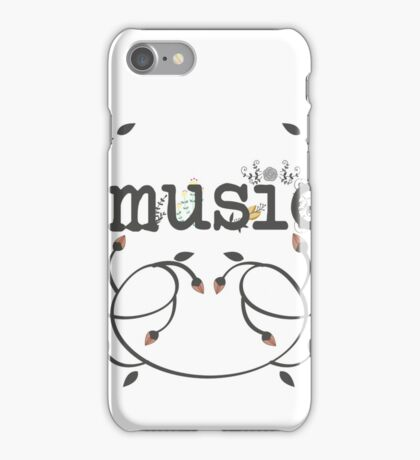 Floral music typography iPhone Case/Skin
