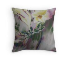 Watercolour: Freesia Waltz Throw Pillow