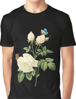 White rose with butterflies Graphic T-Shirt