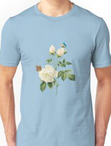 White rose with butterflies Unisex T-Shirt
