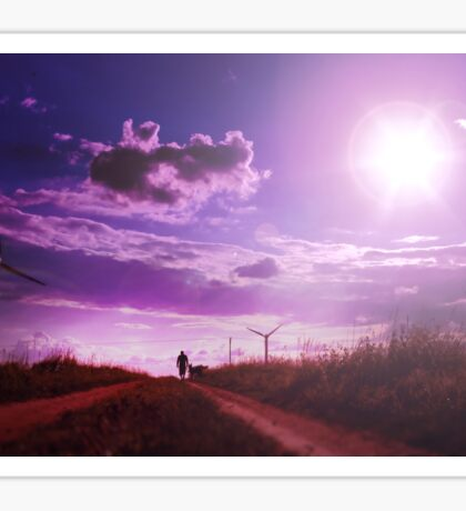 Man walking with his dog on the field with windmills. Beautiful nature background with setting sun and pink sky Sticker