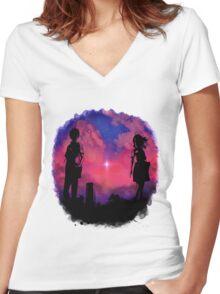 Anime sunset Women's Fitted V-Neck T-Shirt