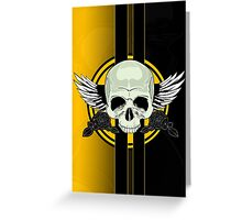 Wing Skull - YELLOW Greeting Card