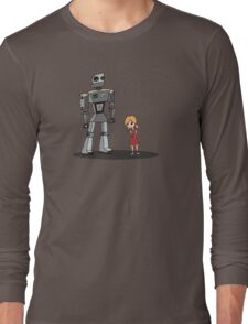 Cute Little Girl And Tall Metal Robot Cartoon Design Long Sleeve T-Shirt