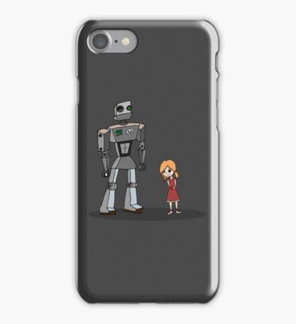 Cute Little Girl And Tall Metal Robot Cartoon Design iPhone Case/Skin