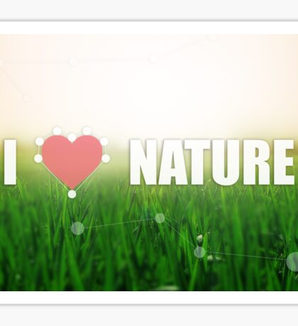 I love nature. Grass texture. Colors: green and beige. Heart illustration Sticker