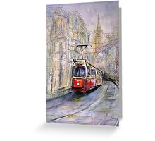 Red vintage tram Greeting Card