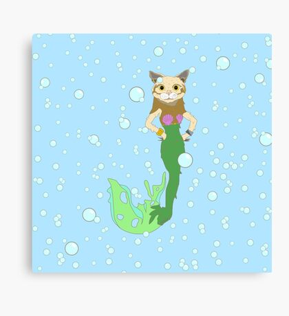 Cat Fish Mermaid Canvas Print