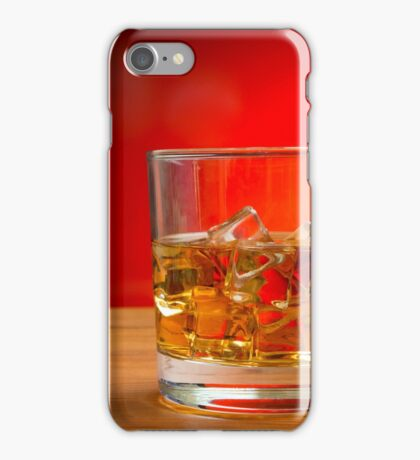 Glass of Whisky With Ice on a Wooden Table iPhone Case/Skin
