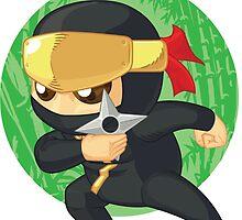 Little Ninja Holding Shuriken by BluezAce
