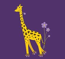 Purple Cartoon Funny Giraffe Roller Skating by Boriana Giormova