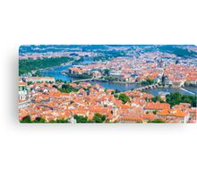 View of the Prague City on a summer day from Petrin Tower. Tilt-shift photography. Aerial view Canvas Print