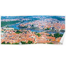 View of the Prague City on a summer day from Petrin Tower. Tilt-shift photography. Aerial view Poster