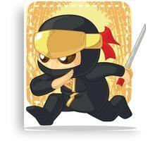 Little Ninja Holding Japanese Sword Canvas Print