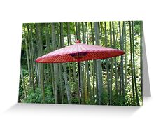 Japanese Umbrella among the Bamboo Greeting Card