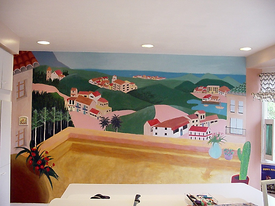 Kitchen mural of a Mediterranean scene by Mui-Ling Teh