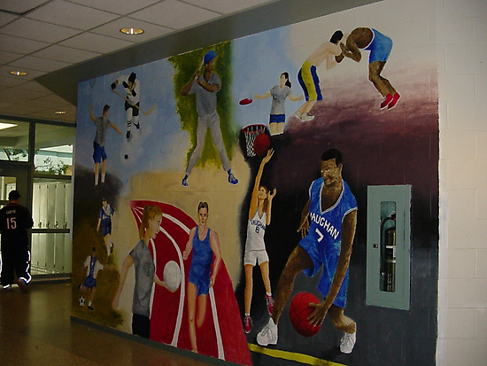 Mural done outside of high school gym by Mui-Ling Teh