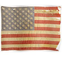 American flag - destroyed, vintage, distressed Poster
