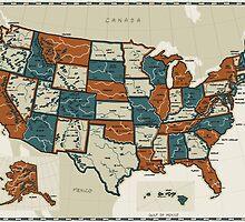 USA - Vintage Effect Map by OneLeggedKiwi